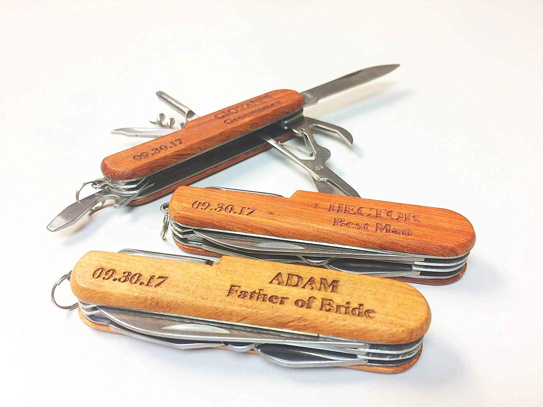 5 engraved Pocket Knife, Groomsmen Gift, Engraved Wooden Groomsman Gifts Set