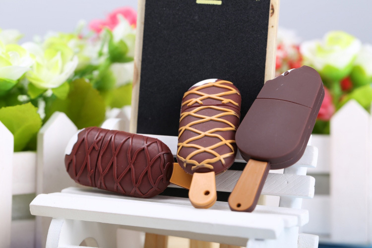Business Gift Chocolate Ice Cream Cute Shaped Pvc 2gb Usb Flash Drive for girls