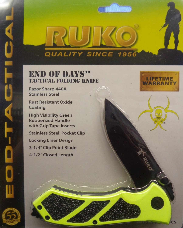 "Ruko RUK0061HG-CS, 440A, 3-1/4"" Folding Blade Hunting Knife, High Visibility Green Handle, Clamshell"