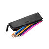 Popular Luxury Custom Stationery Bag Zipper Leather Pen Pouch with 2 Slots Black