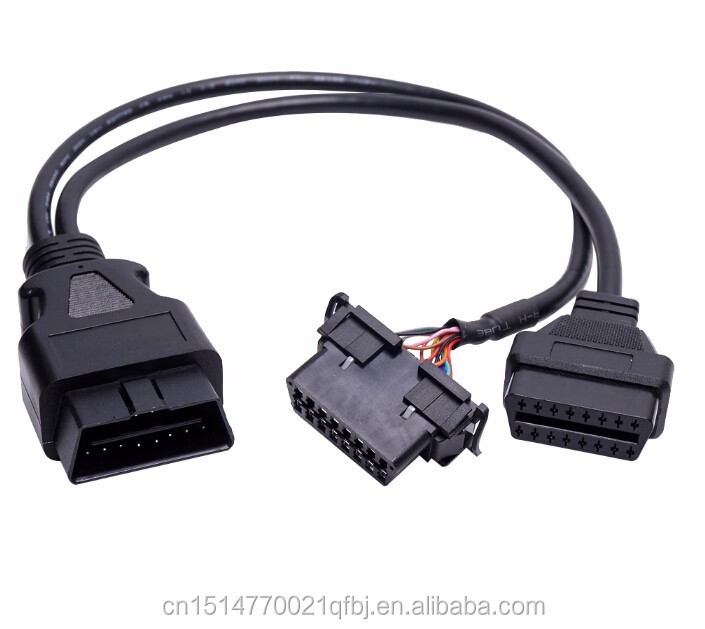 OBD2 16Pin 1 Male To dual Female Extension cable with baffle OBD 2 Auto Car Diagnostic Cable Connector Adapter