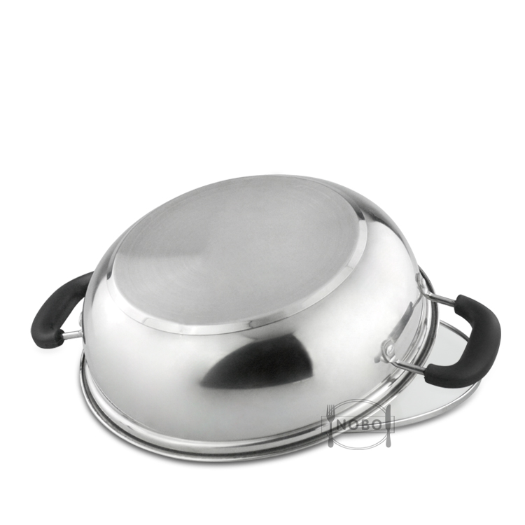 New popular glass lids stainless steel chinese hot pot cookware with divider