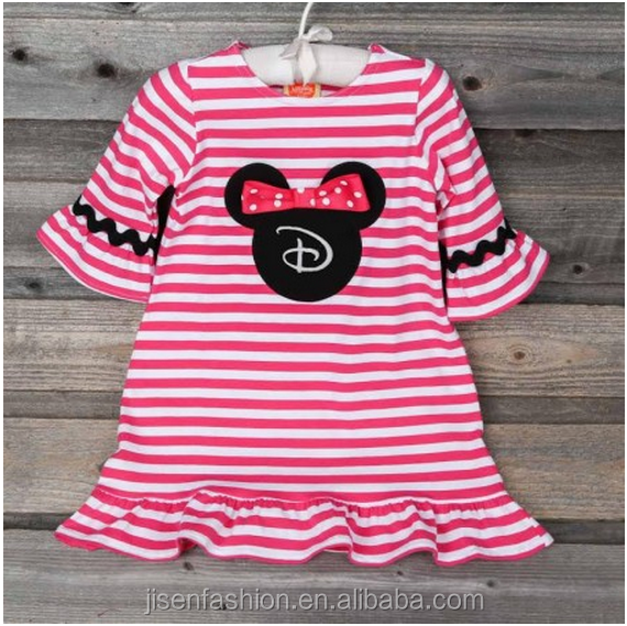 hot pink striped mouse ears applique knit kids fall dress