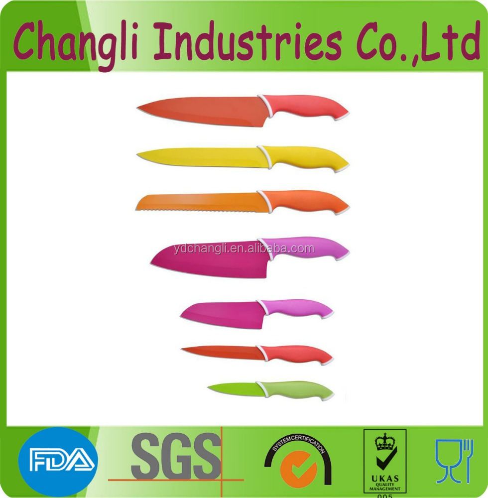 Colorful royalty line 7 pcs coating knife set