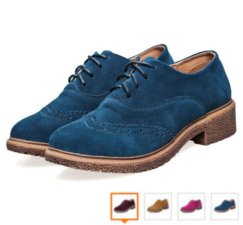 2015 Brand Spring Woman Genuine Leather Oxfords For Women, blue+yellow+red+rose 4 Colors Oxford Casual Women Shoe High Quality