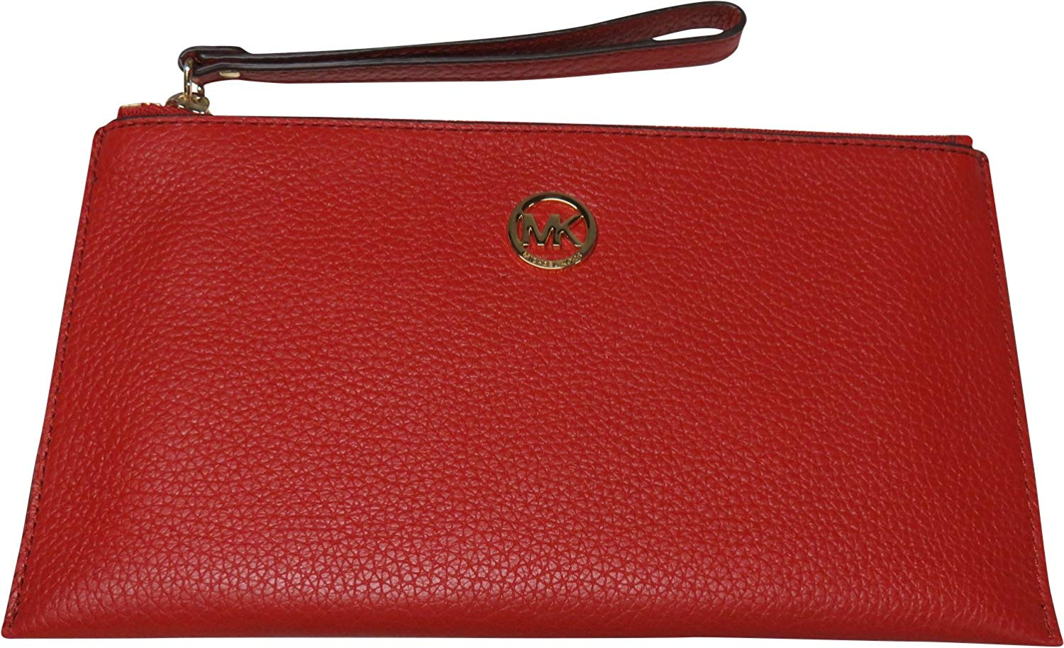 Micheal Kors Fulton Leather Large Zip Clutch Wristlet Red
