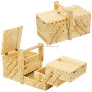 Natural Pin Cushioned Wooden Handcrafted Sewing Jewellery Box