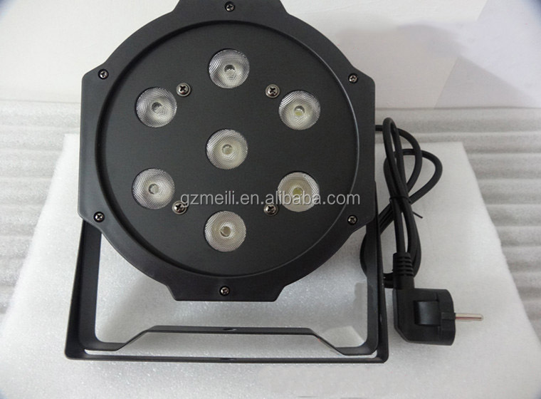 DMX flat par 7x10w rgbw 4in1 led mini slim par