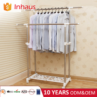 home decoration double pole adjustable portable standing clothes hanger with plastic shelf