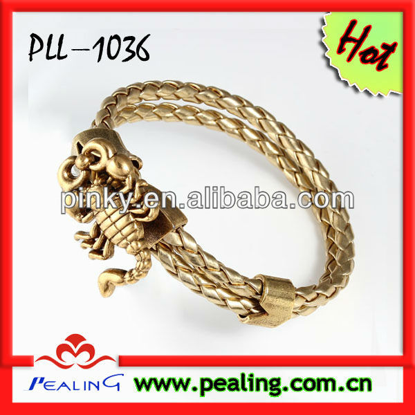 Hot-selling 2 wrap braided gold leather bracelet with scorpion