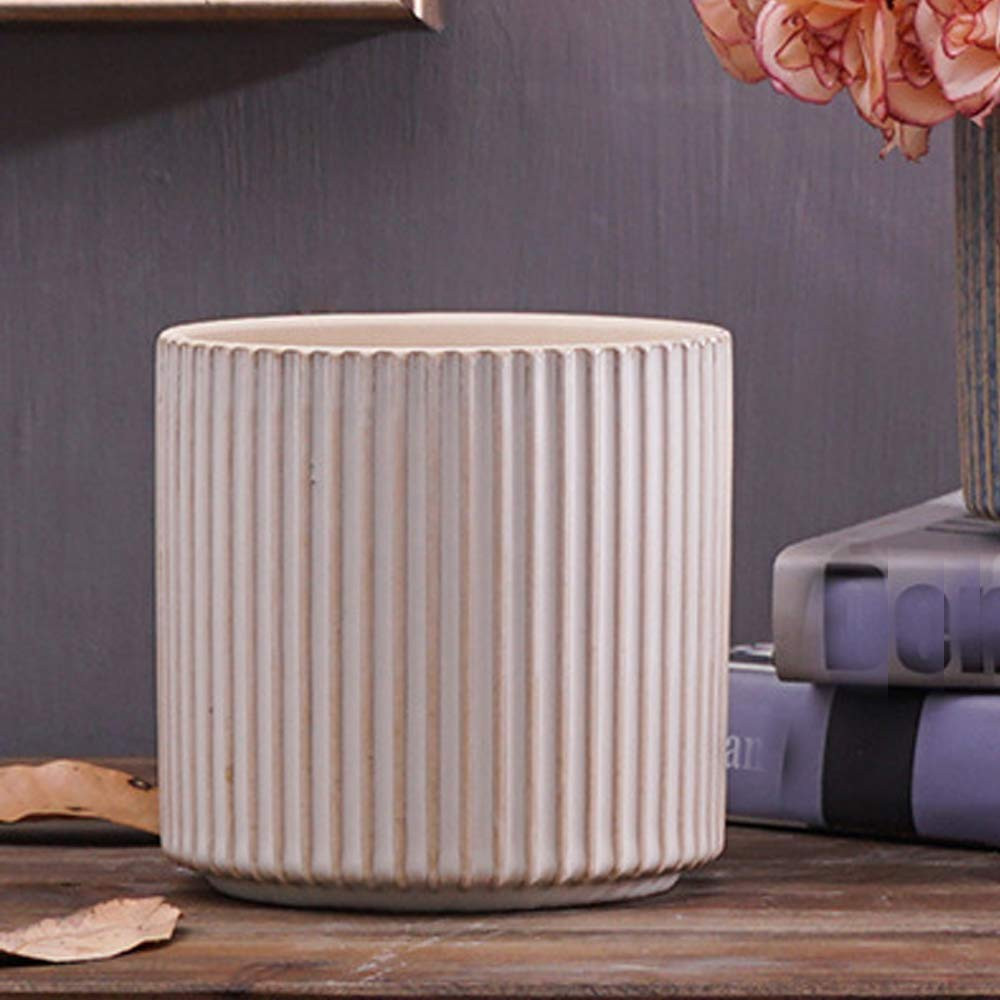 Better-Way Orchid Planter Pot Modern Decorative Ceramic Planter Cylinder Flower Plant Pot Home Office Desk Succulent Cactus Container Indoor Decoration 5 inch (White)