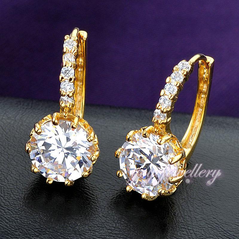 Trendy gold earring single stone simple stud earring korea design ...