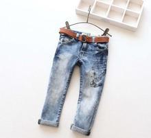 New Arrival Children Jeans Boys Girls Skinny Jeans Kids Fashion Denim Jeans With Belt Children Spring