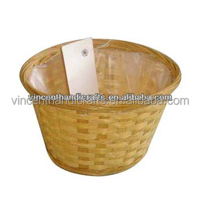 Cheap bamboo basket with plastic liner for garden flower holder
