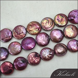 Purple flat coin shape freshwater natural pearl indonesia