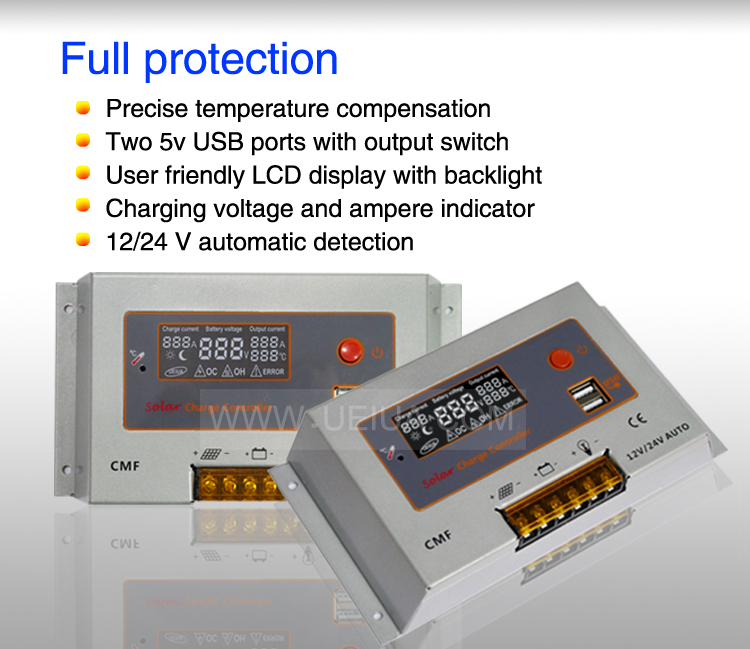 China Suppier Aluminium Case 12v 24v Auto 10a Solar Panel Control ...