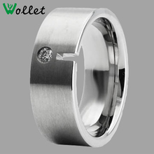 Men CZ Stone Accent Stainless Steel Ring Blanks