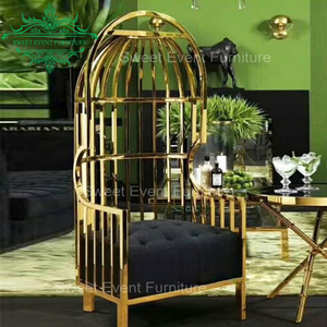 Customized birdcage wedding bridal chair with pu leather cushion