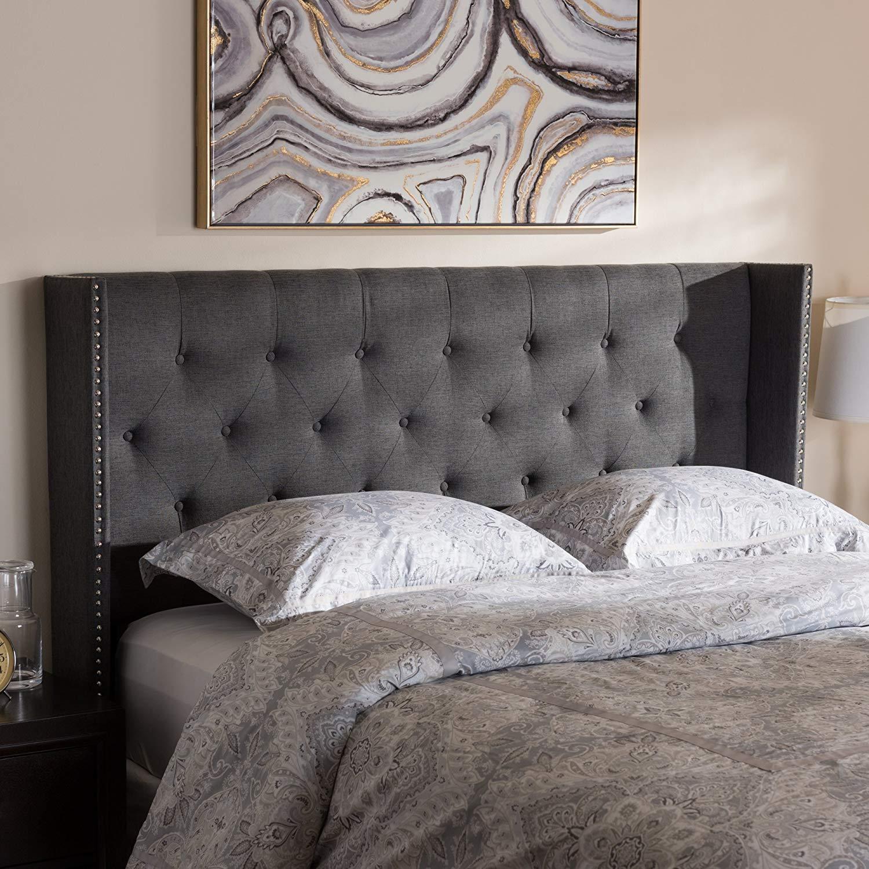 "Baxton Studio Ally Modern And Contemporary Dark Grey Fabric Button-Tufted Nail head Full Size Winged Headboard Contemporary/Dark Grey/Fabric Polyester 100%""/LVL/MDF/Foam/"