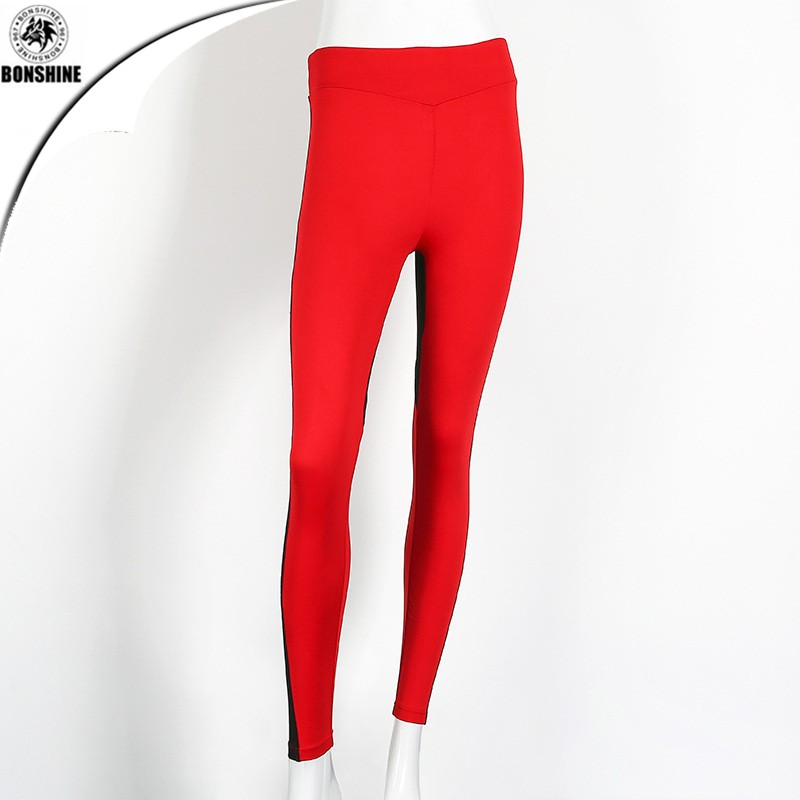 Spot 2017 European and American style love-shaped red and black spell fight stitch breathable yoga sports leggings pants
