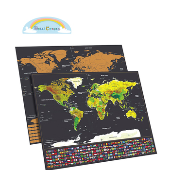 Scratch Off World Map Poster With National Flags And Us States - Scratch-us-map