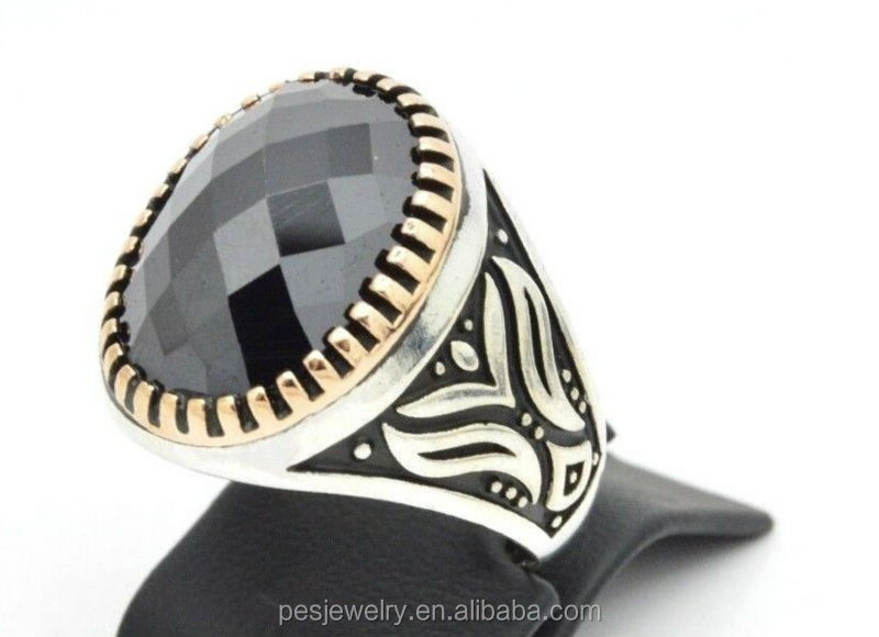 Rich black onyx turkish jewelry men's gender rings hot sell(PES6-148)