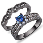 Hot Sale Fashion Love is as Old as Ever Black Plated Micro Pave Lab Diamond Heart Lily Couples Ring for Lovers