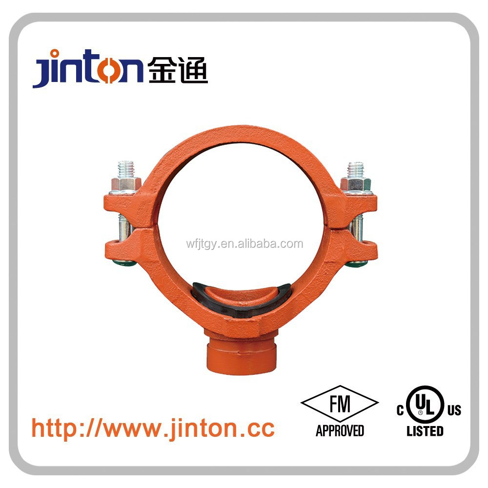 FM UL approved ductile iron pipe fitting of mechanical tee end grooved