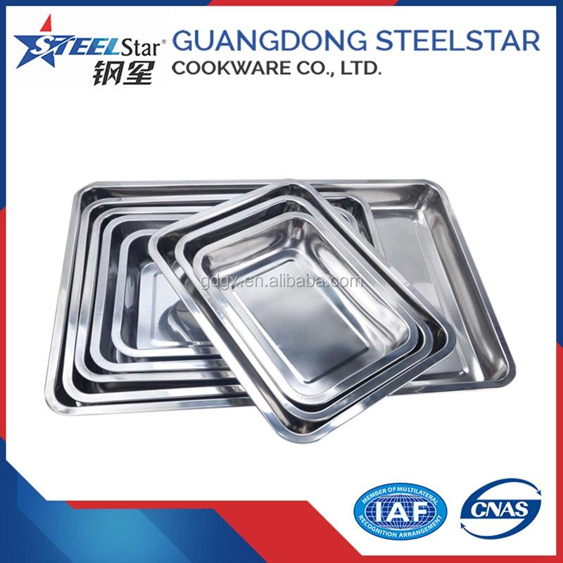 Große größe edelstahl platte lebensmittel tablett dekorative platte mit spiegel metall farbe für lagerung