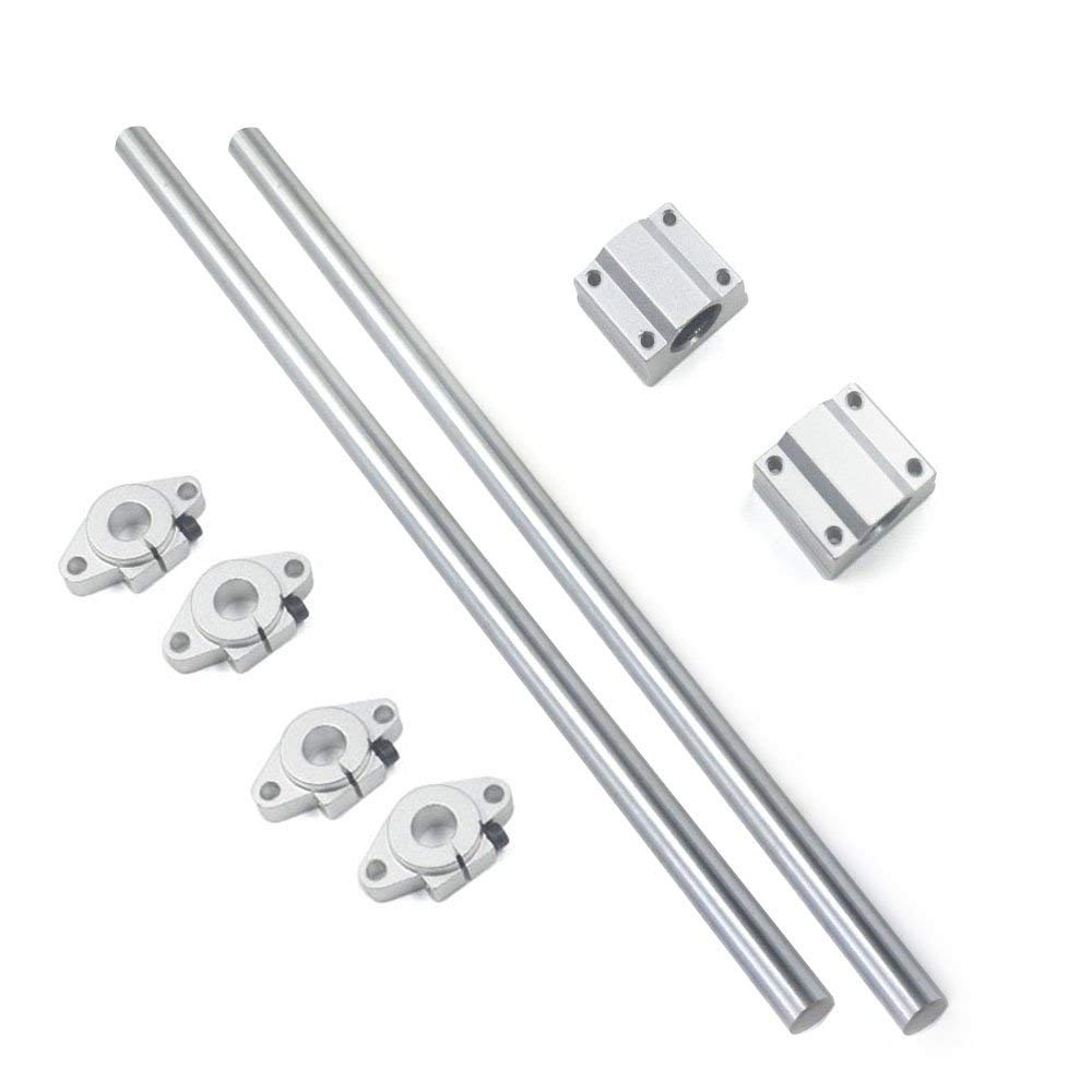 Bearing& Support,Ideaker Vertical 12mm Dia Linear Motion Ball Bearing Slide Bushing &300mm Linear Shaft Optical Axis with Rod Rail Support Set of 8