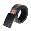 China Supplier Braided Elastic Stretch Belts Mens With Brown Leather Tabs