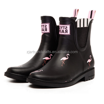 Fashion flamingo orignal design half waterproof  black rubber rain boots for woman