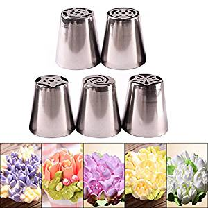 Pymega(TM) Pastry Tips Set 5Pcs/Lot Russian Tulip Icing Piping Nozzles Kitchen Cake Decoration Decor Tips Tool #83838