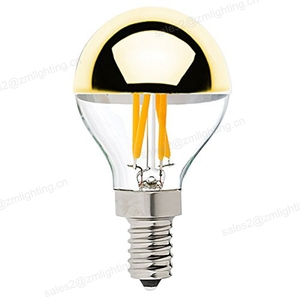 G45 led filament dimmable e12 e14 2w 4w half mirror light bulb