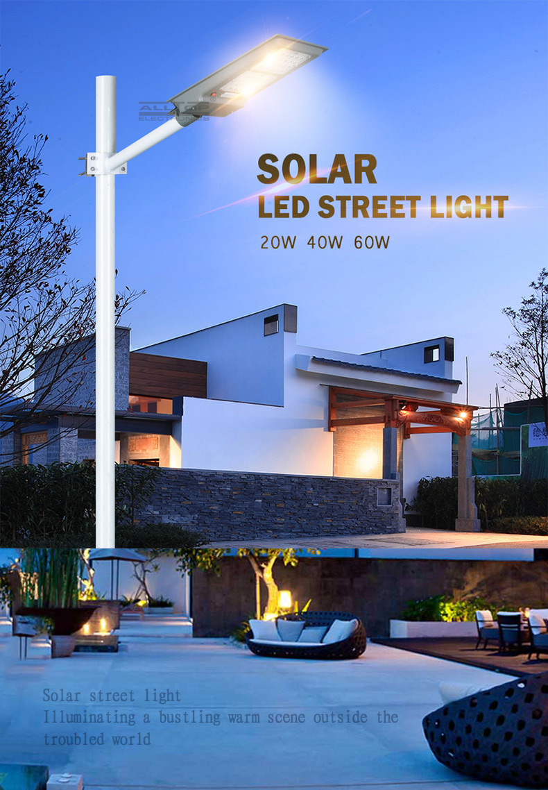 ALLTOP High brightness 6v outdoor lighting waterproof 20w 40w 60w integrated all in one led solar street light