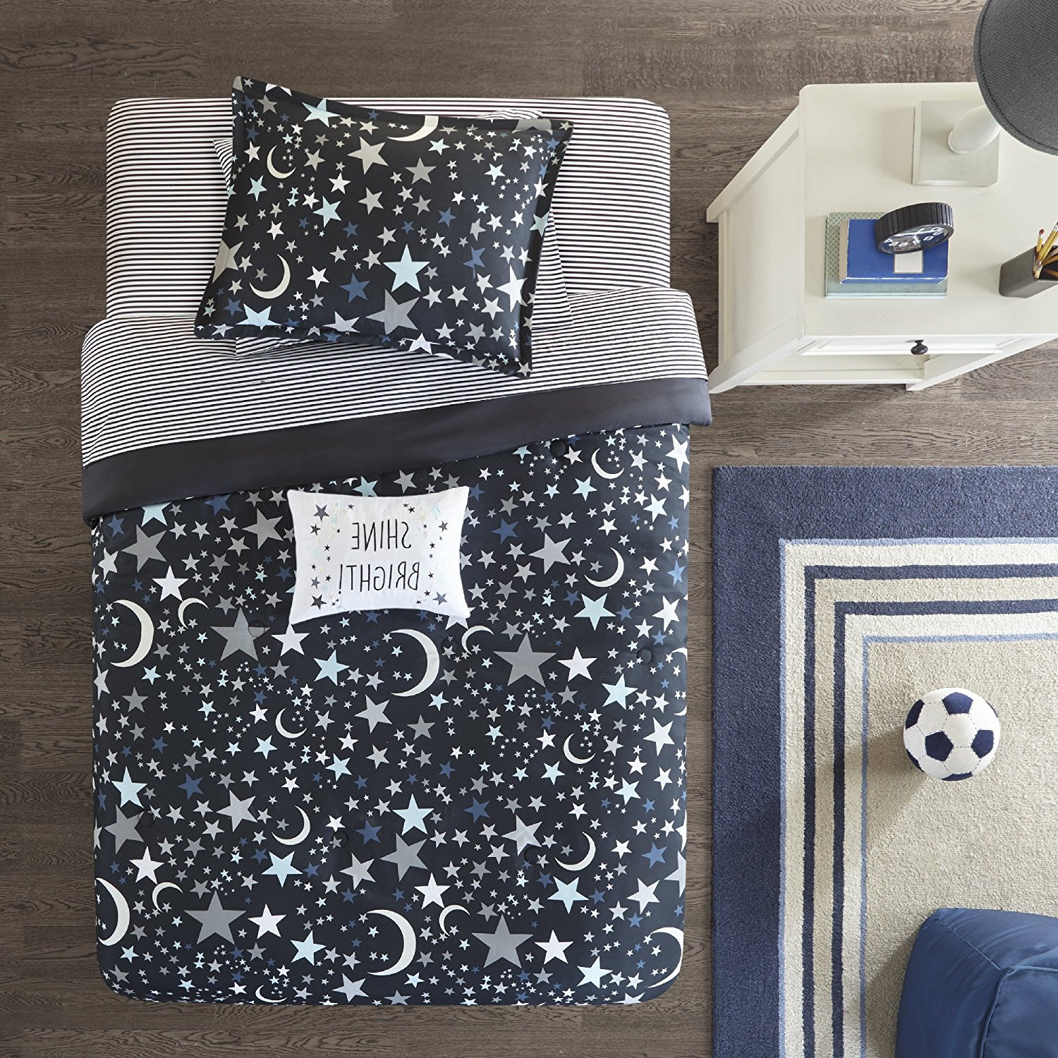 Ln 6 Piece Navy Blue Black Grey Star Moon Themed Comforter Twin Set, Kids All Over Space Shooting Stars Bedding, Cute Boys Girls Multi Outer Space Themed Pattern, Gray Microfiber