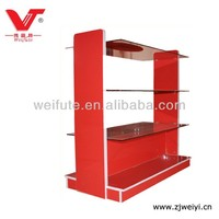 High gloss free standing Glass Display Shelf