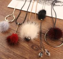 Multicolor new arrival The bulb pendant necklace with Long sweater chain for girl lady fashion jewelry soft fur ball necklace