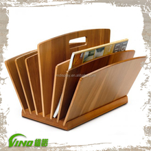 Custom wood newspaper stand for hotel,compartments magazines tier leaflet dividers,handmade hanging book rack display holders