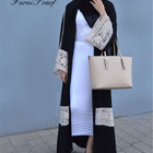 White Lace Muslim Big Size Dress Long Sleeve Abaya Cardigan Robes Arab Clothes Islamic Malaysia Style