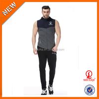 custom 100 cotton summer sleeveless mens tracksuit / winter jogging & sport tracksuit