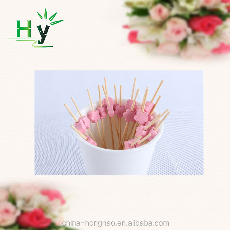 Party supplies pink flower shape bamboo beaded skewers
