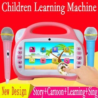 7in touch screen cartoon story kids learning machine with 2 microphones Karaoke toy