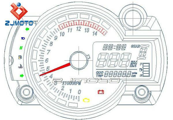 Universal LCD Digital Veloc/ímetro Tac/ómetro Cuentakil/ómetros Medidor de Velocidad con 7 Colores de Luz de Fondo,Negro Veloc/ímetro de la Motocicleta