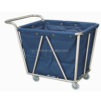 heavy duty stainless steel commercial industrial hotel hospital laundry trolley housekeeping linen carts