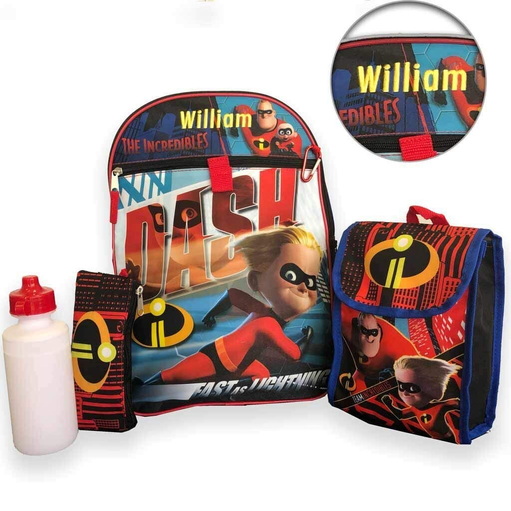 """Personalized 16"""" Incredibles 2 Backpack with Bonus Lunch Bag, Water Bottle, Pencil Case, and Carabiner Clip"""
