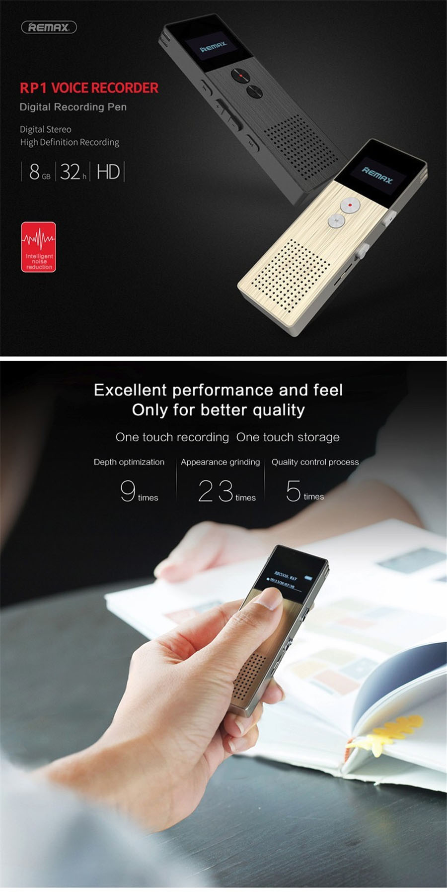 REMAX Professionele Audio Recorder Business Draagbare Digitale Business Voice Recorder Ondersteuning Telefoon Opnemen MP3 Speler