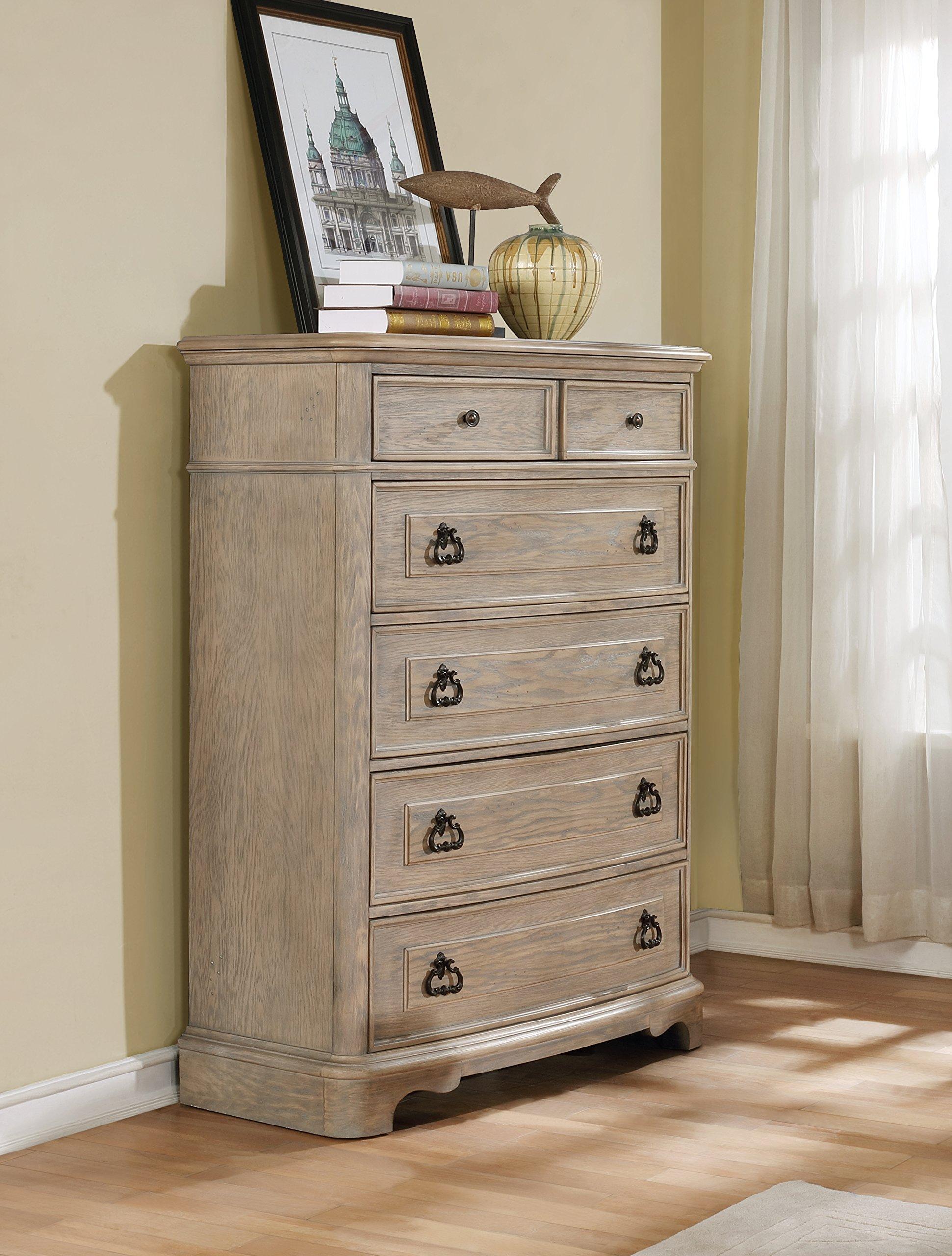 Roundhill Furniture B296C Piraeus 296 6 Drawers White Wash Chest