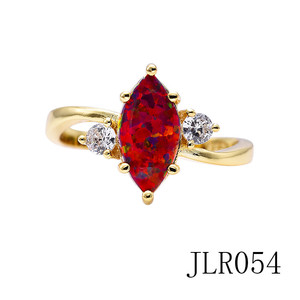 JLR054 New Arrival 14k yellow gold opal stone wedding ring+african cz rhinestone stone red opal ring
