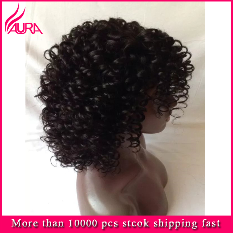 2017 Wholesale Short Curly Front Lace Wigs Unprocessed Indian Virgin Hair Full Lace Wigs Short Style In Stock